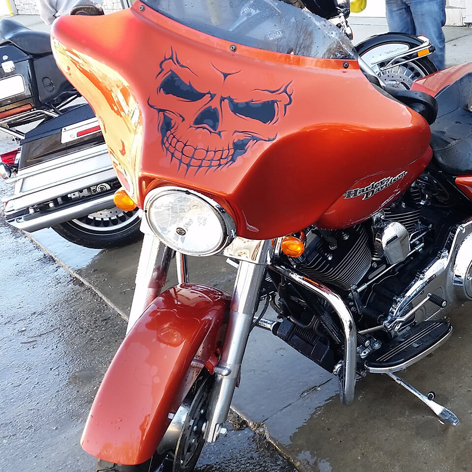 Motorcycle Street Glide With Harley Davidson Vinyl Graphic